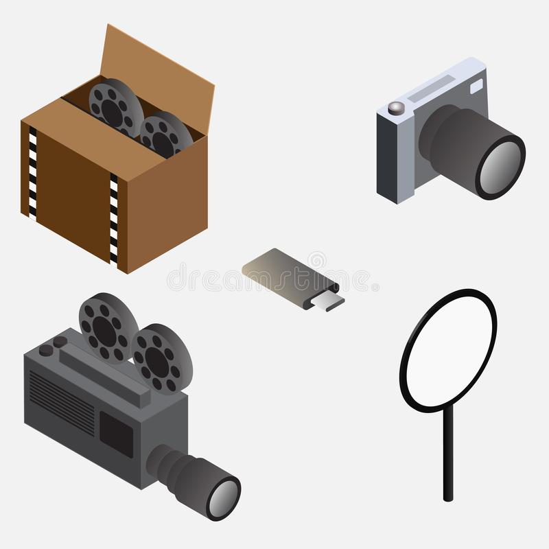 Isometric kamera, kolbiasty dysk, ekranowa kamera, rolka filmu pudełko i pętla, ilustracji