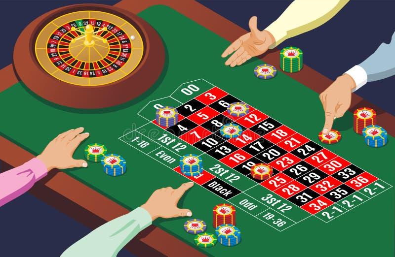 Isometric Kasynowy ruleta stołu szablon royalty ilustracja