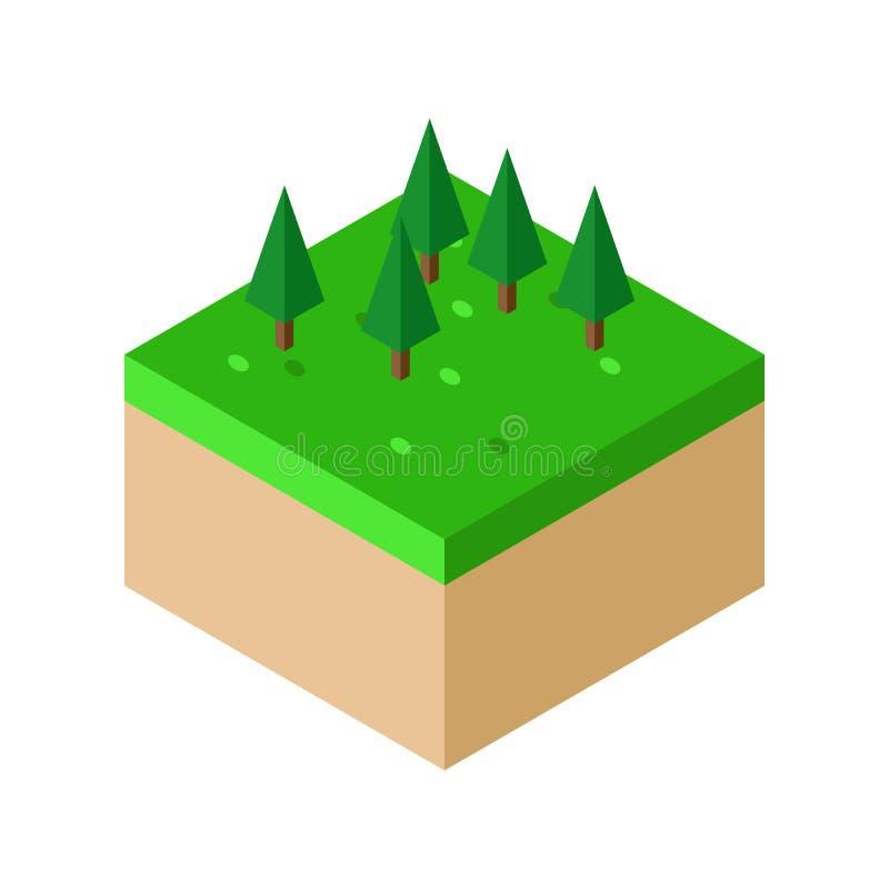 Isometric kawałek ziemi z Drzewną wektorową ilustracją ilustracja wektor