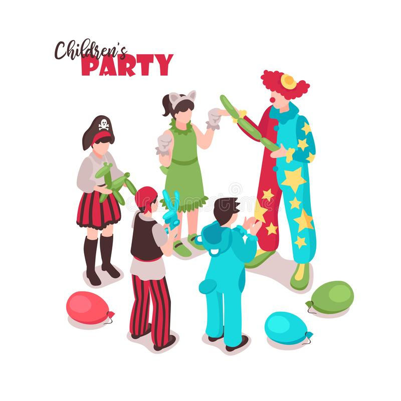 Kids Costume Party Background. Isometric kids animator background with ornate text and group of children in festive costumes with entertainer vector illustration stock illustration