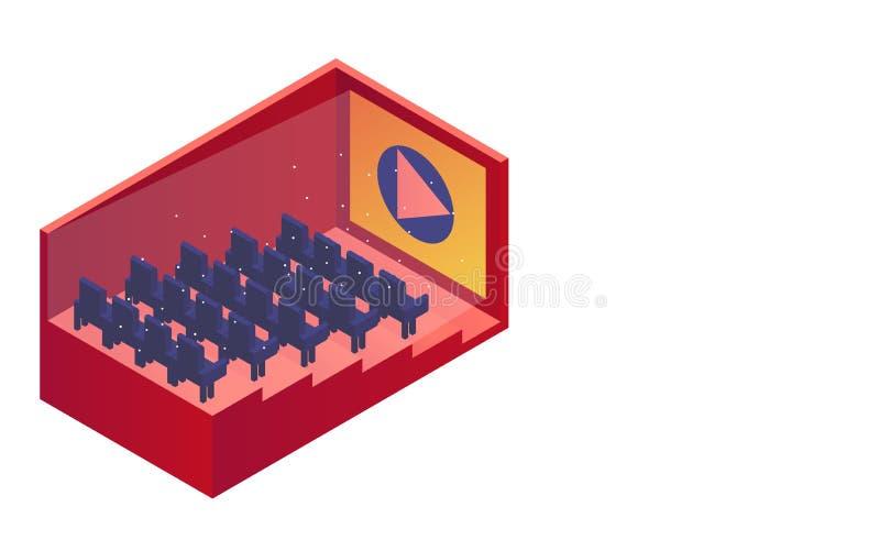 Isometric kino Kinowa sala z rzędami siedzenia również zwrócić corel ilustracji wektora Biała przestrzeń dla teksta i tło ilustracja wektor