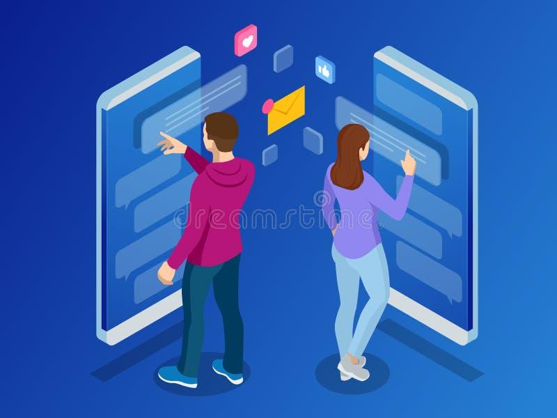 Isometric kobieta i mężczyzna pisać na maszynie na mobilnym smartphone gadka żywa Sms wiadomości i mowa bąble Krótka wiadomości u royalty ilustracja