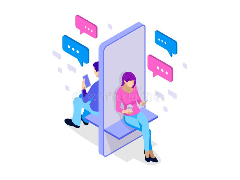 Isometric kobieta i mężczyzna pisać na maszynie na mobilnym smartphone gadka żywa Sms wiadomości i mowa bąble Krótka wiadomości u ilustracji
