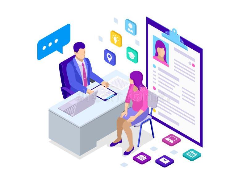 Isometric kobieta podczas akcydensowego wywiadu Męski urzędnik w garnituru obsiadaniu przy biurkiem z laptopem i kobietą royalty ilustracja