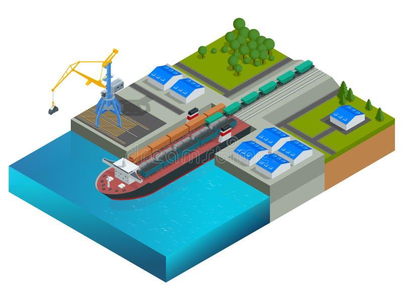 Isometric kolejowy dok, promu przewożenia pociągu furgony Pociąg na promu Transport ampuła ładunki morzem globalny ilustracji