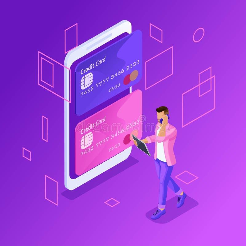 Isometric kolorowy pojęcie kierować online karty kredytowe, online bankowość konto ilustracja wektor