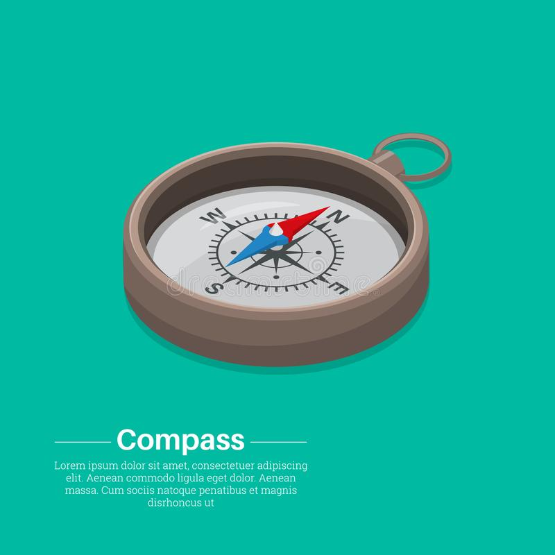 Isometric kompas ilustracja wektor