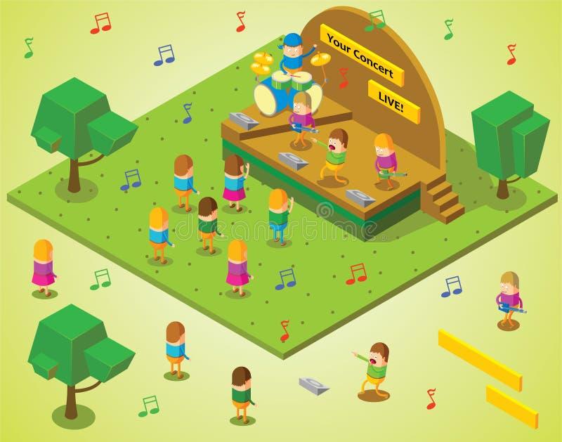 Isometric koncert ilustracja wektor
