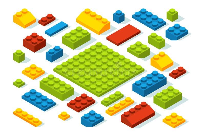 Isometric konstruktorów bloki przy różnymi kolorami ilustracja wektor