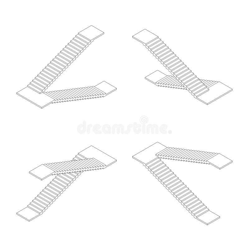 Isometric konturów schodków plan również zwrócić corel ilustracji wektora royalty ilustracja