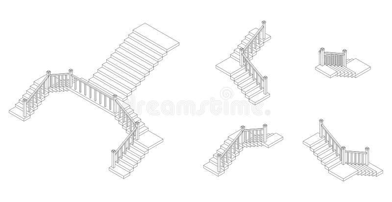 Isometric konturów schodków plan z poręczem również zwrócić corel ilustracji wektora royalty ilustracja
