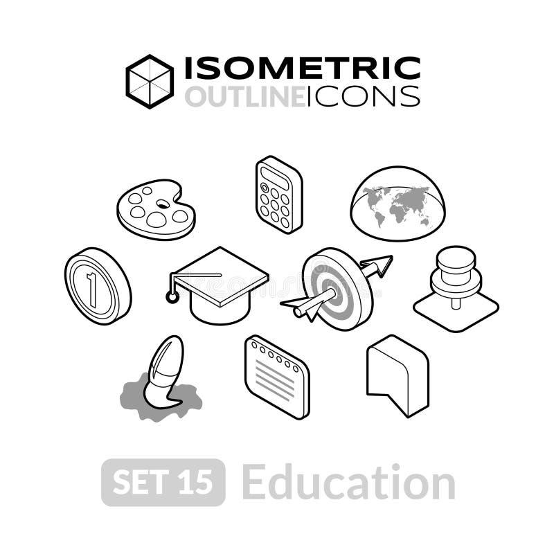 Isometric kontur ikony ustawiają 15 ilustracja wektor