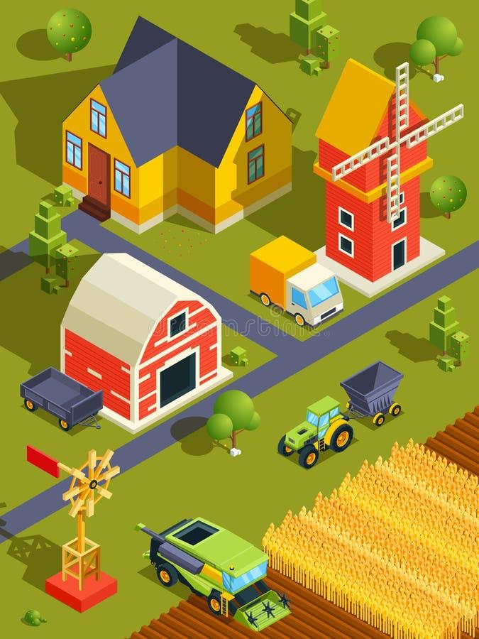 Isometric krajobraz wioska lub gospodarstwo rolne z różnorodnymi budynkami i rolniczymi maszynami ilustracji