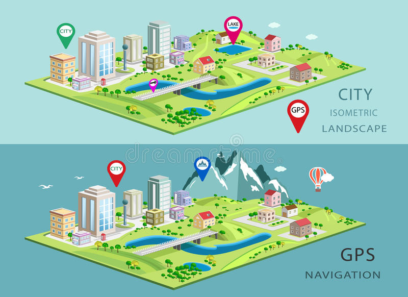 Isometric krajobrazy z budynkami, parkami, równinami, wzgórzami, górami, jeziorami i rzekami miasta, Set szczegółowi miasto budyn royalty ilustracja