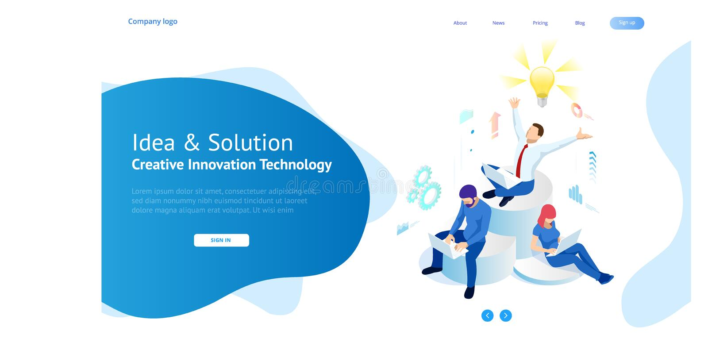 Isometric kreatywnie innowacji poj?cie i pomys? Nowi pomys?y z nowatorsk? technologi? i tw?rczo?ci? M??d?kowa ?ar?wka royalty ilustracja