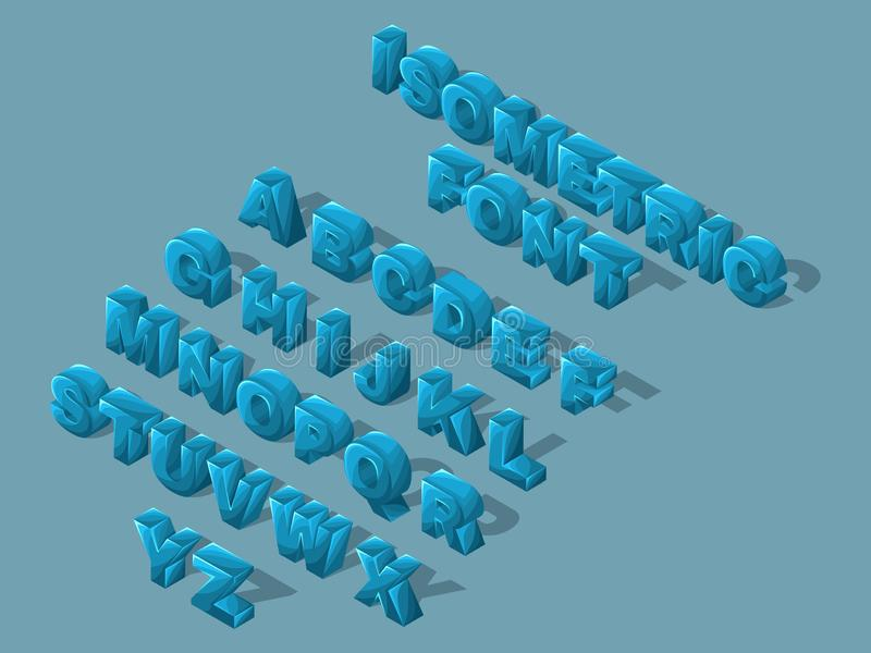 Isometric kreskówki chrzcielnica, 3D listy, jaskrawy wielki ustawiający błękitni listy Angielski abecadło tworzyć wektorowe ilust ilustracja wektor