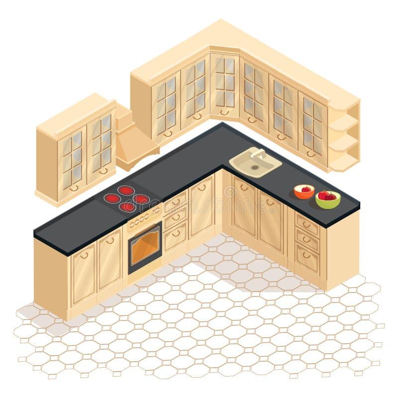 Isometric kreskówki retro kuchenna meblarska ikona wektor royalty ilustracja