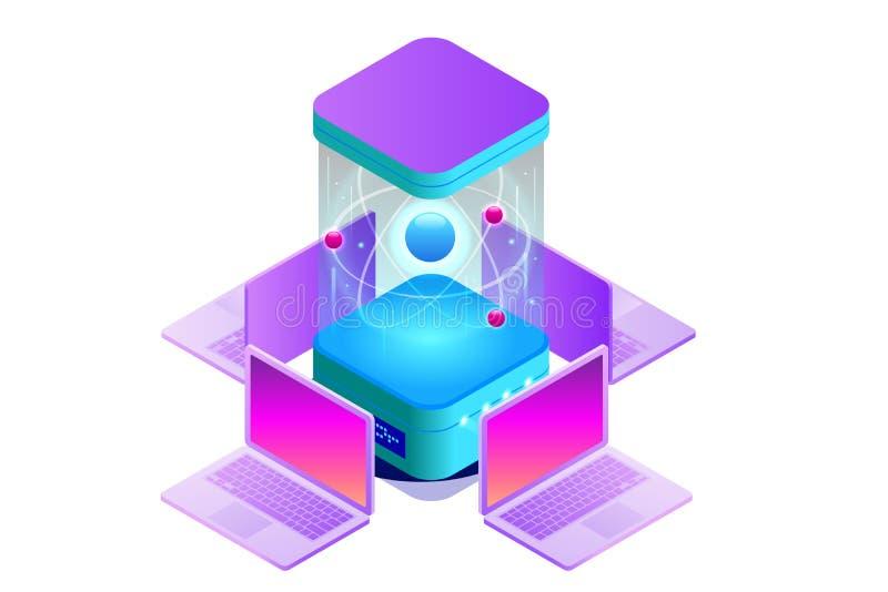 Isometric Kwantowy superkomputer lub obliczać Kwantowy komputer jest przyrządem który wykonuje kwantowy obliczać wektor royalty ilustracja