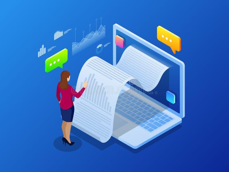 Isometric kwit statystyki dane, powiadomienie na transakci finansowej, mobilny bank, smartphone z papierowym rachunkiem ilustracja wektor