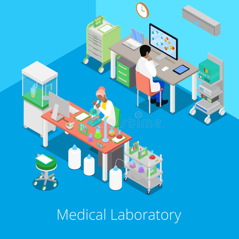 Isometric Laboratory Analysis with Medical Staff and Chemical Research vector illustration