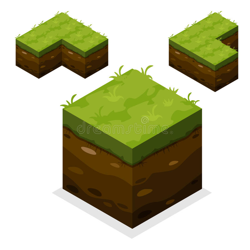Isometric Landscape Cube land and grass royalty free illustration