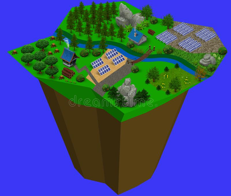 Isometric landscape in ecological 3d of houses with solar panels royalty free stock image