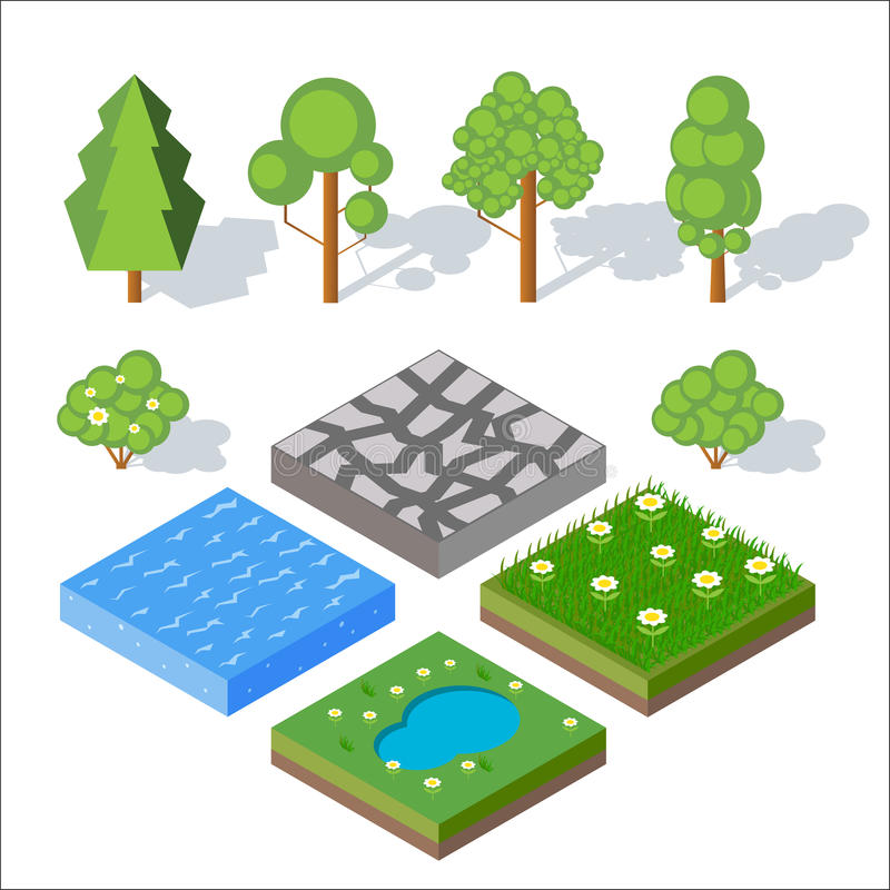 Isometric landscape elements. Bushes and trees, water, grass. royalty free illustration