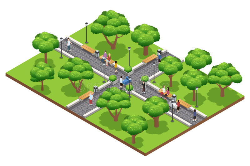 Isometric Landscaping Composition With People vector illustration