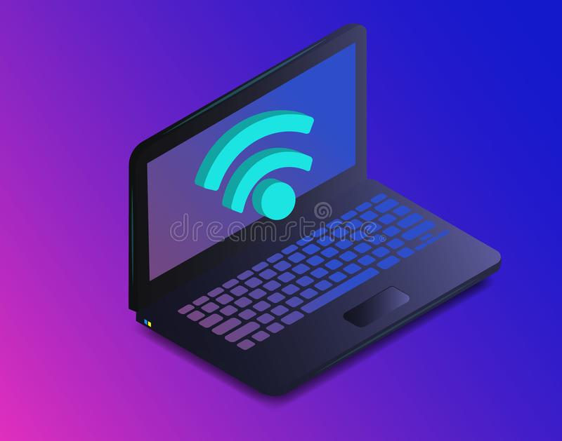 Isometric laptop with free internet, wifi. Isometric icon sign of wi-fi signal with laptop. Portable device concept on ultraviolet royalty free illustration