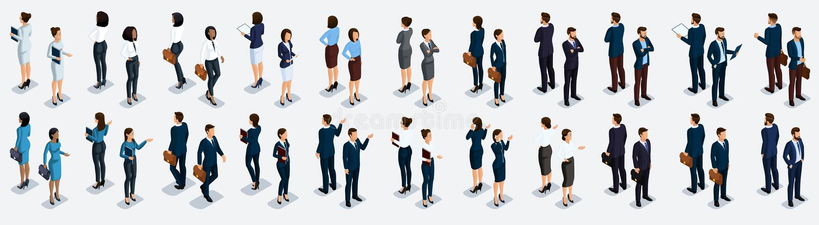 Isometric large set of businessmen and business woman, front view and rear view, vector illustration.  vector illustration