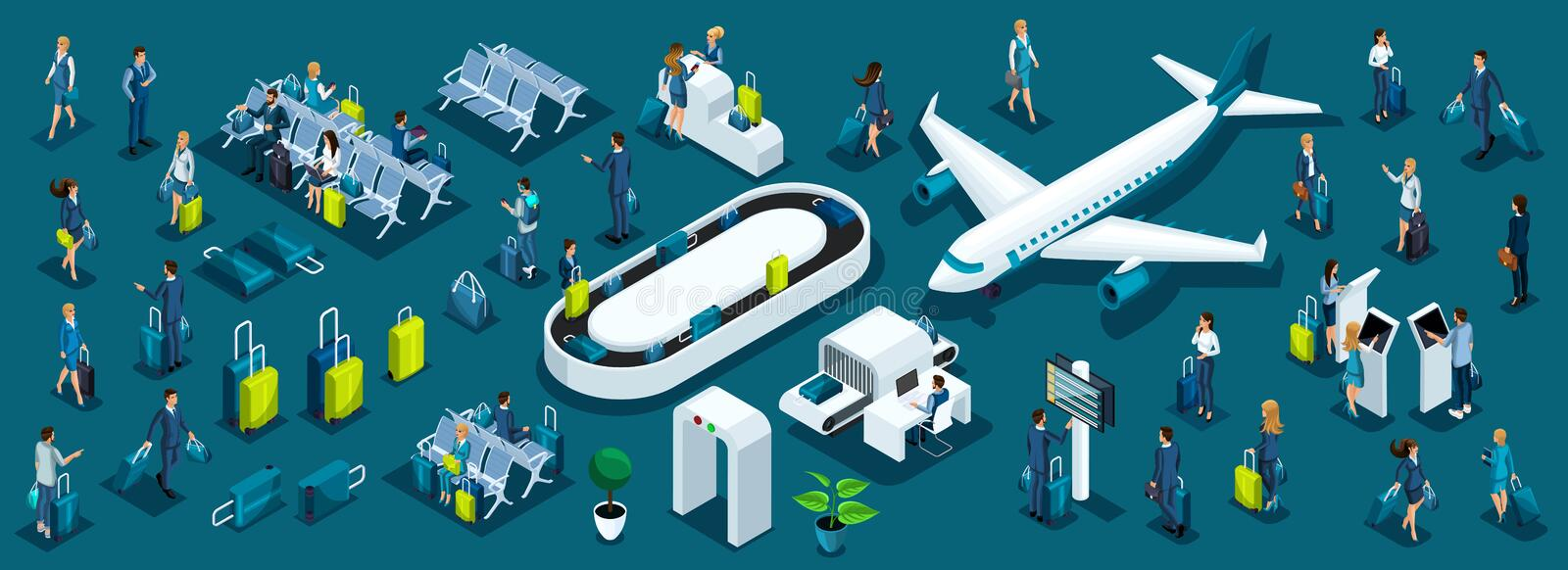 Isometric large set of passengers with airport symbols for illustrations, business ladies and businessmen with luggage front. And back view stock illustration