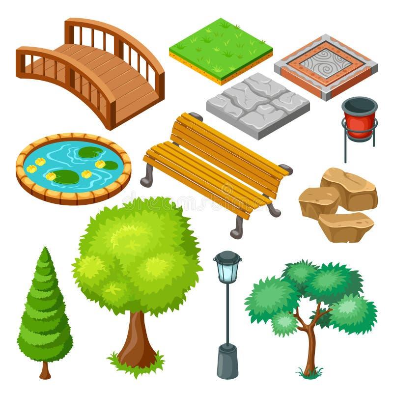 Isometric lato parka krajobrazu elementy Ustawiający royalty ilustracja