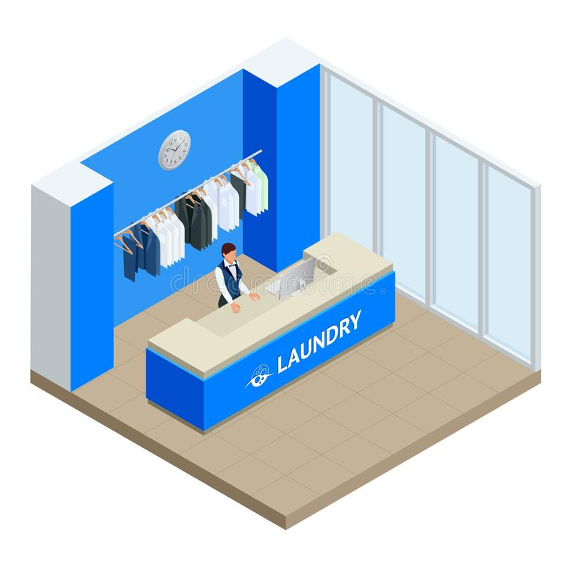 Isometric Laundry reception concept. Laundry service with dry cleaning and washing. Flat vector illustration royalty free illustration