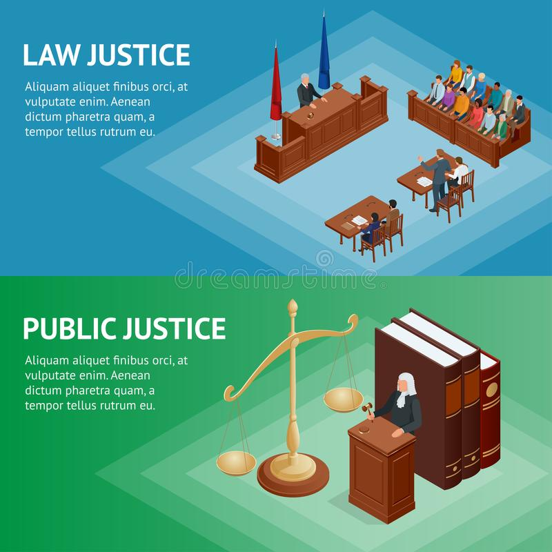 Isometric Law and Justice concept. Law theme, mallet of the judge, scales of justice, books, statue of justice vector. Illustration stock illustration