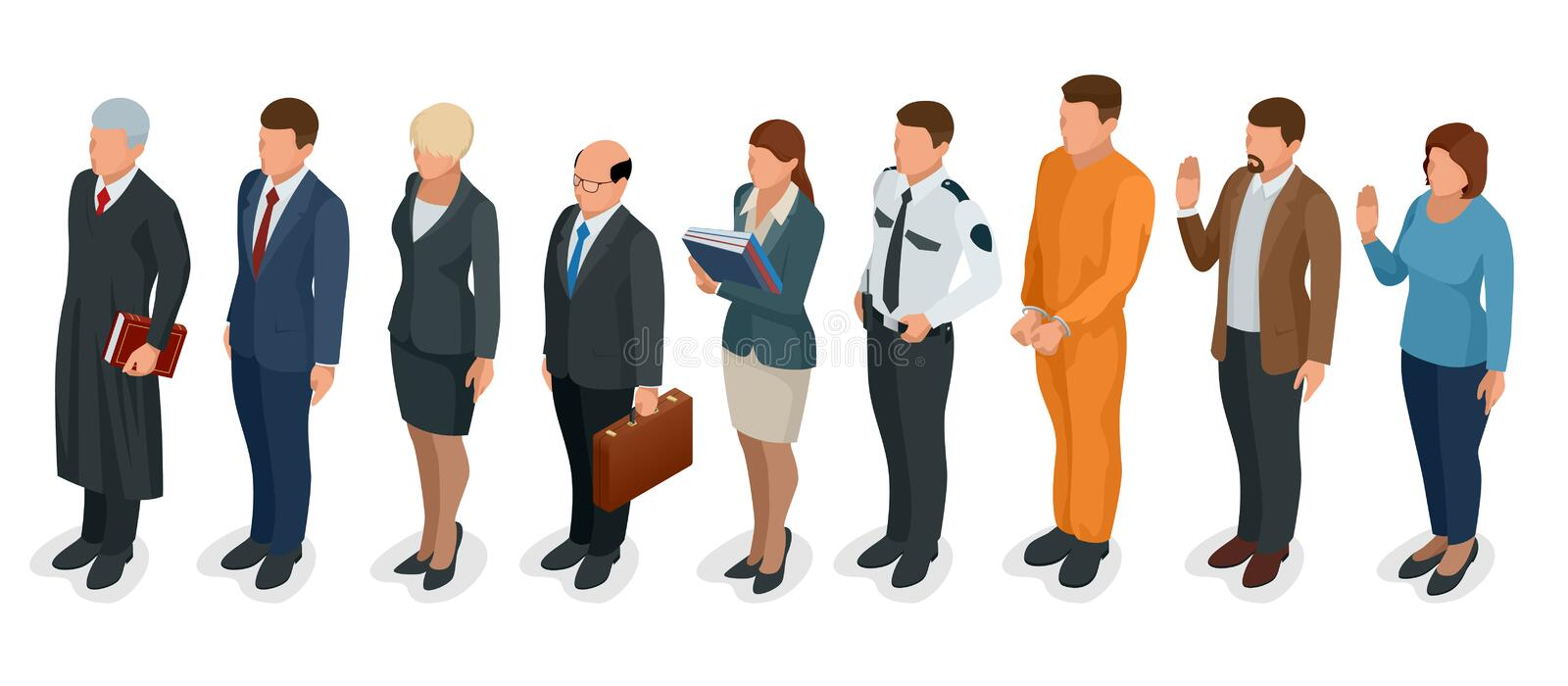 Isometric Law and Justice. People present in court judge, clerk, translator, lawyer, witness, plaintiff, defendant. Stenographer prosecutor defendant police vector illustration