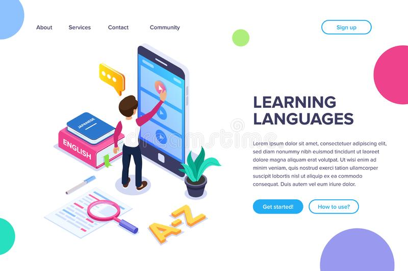 Isometric learning languages concept. Person learns foreign language via Internet by viewing video tutorials on the stock illustration