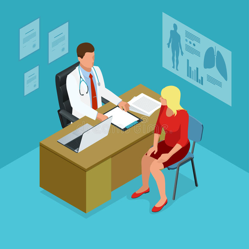 Isometric lekarka pokazuje coś cierpliwego na pastylka komputerze osobistym w szpitalu Samiec doktorski opowiadać z żeńskim pacje ilustracja wektor