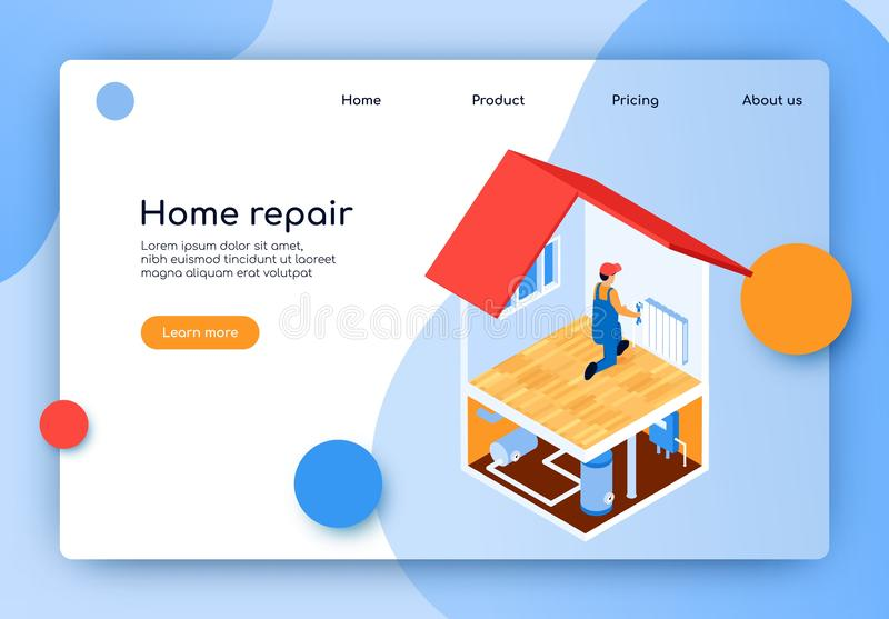 Isometric Lettering Home Repair Landing Page. Laying Complex Engineering Communications. Man Installs or Repairs Battery Apartment. Installation Electrical and royalty free illustration