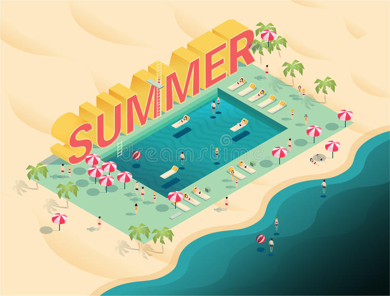 Isometric letters summer text with pool and ocean vector illustr. Ation,people enjoy beach and pool party with swimming pool, chaise lounges,parasol umbrellas vector illustration