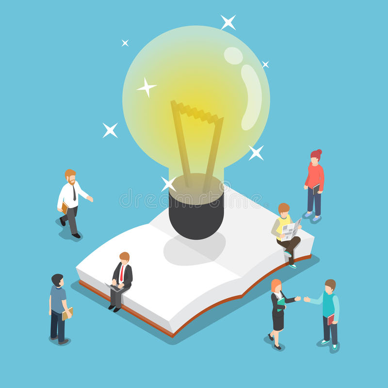 Isometric light bulb over an open book with business people stock illustration
