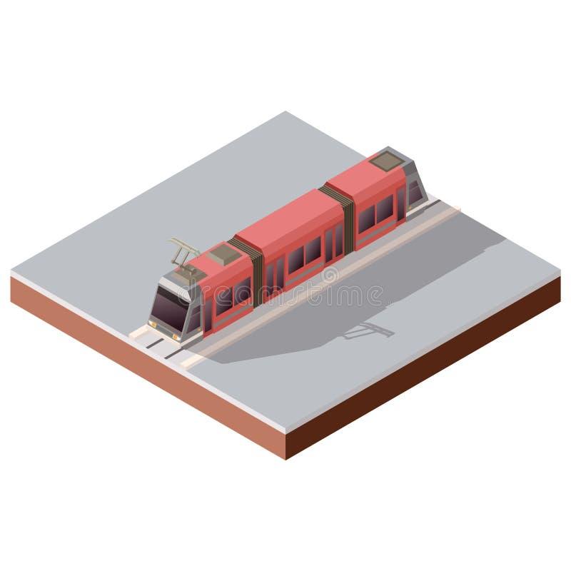 Isometric light train on the rails. Vector image of the Isometric light train on the rails vector illustration