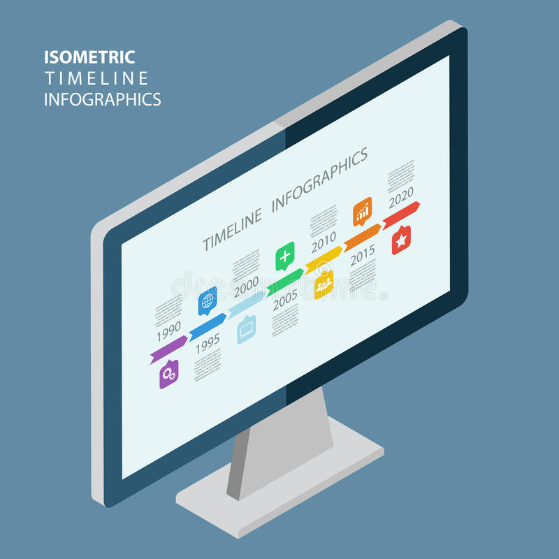 Isometric linia czasu infographic z diagramami i tekstem ilustracji