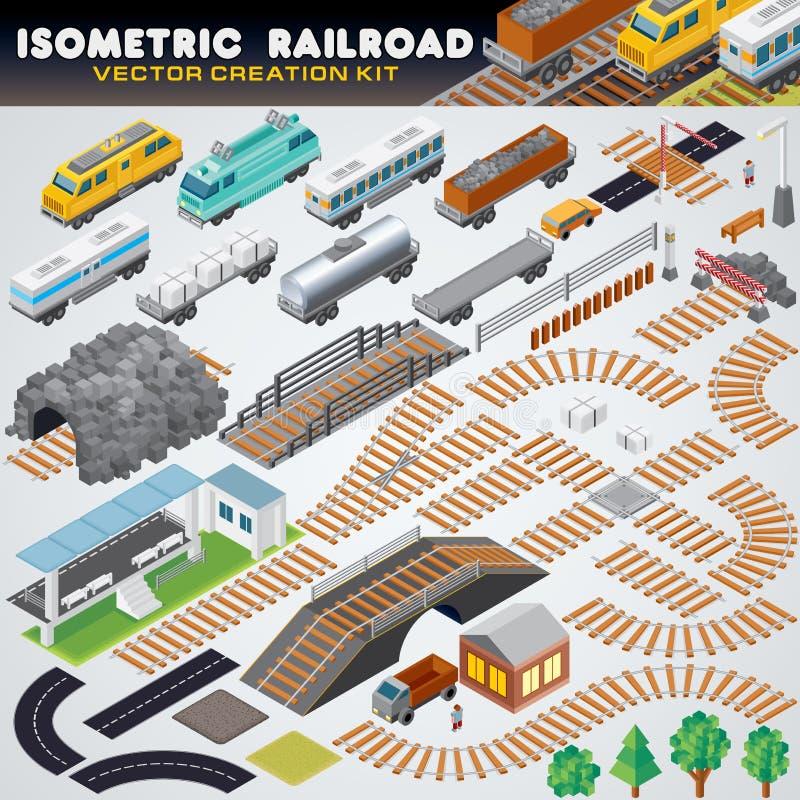 Isometric linia kolejowa pociąg Szczegółowa 3D ilustracja royalty ilustracja