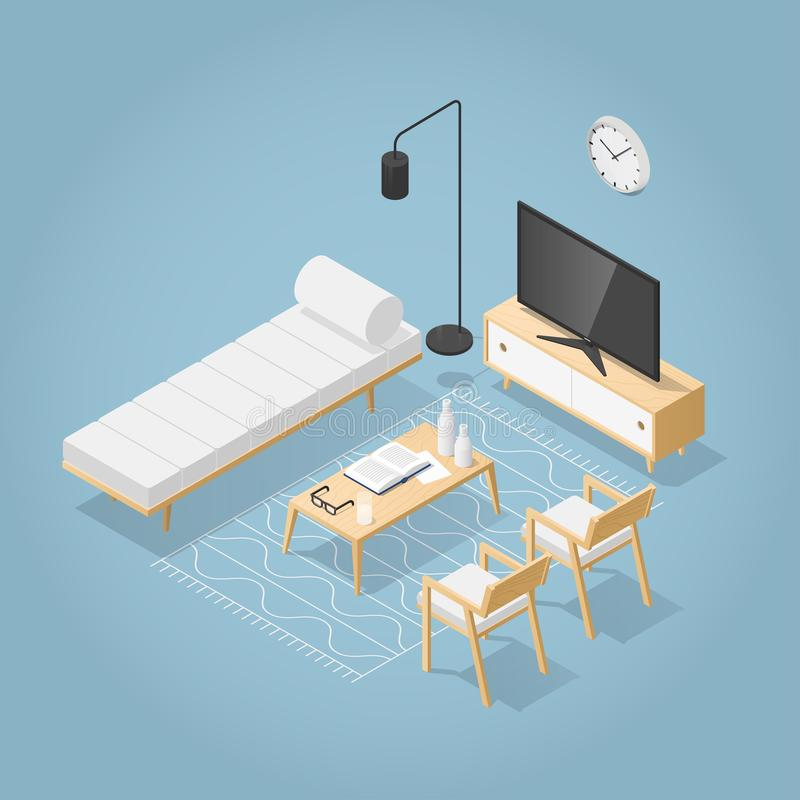 Isometric Living Room Illustration royalty free illustration