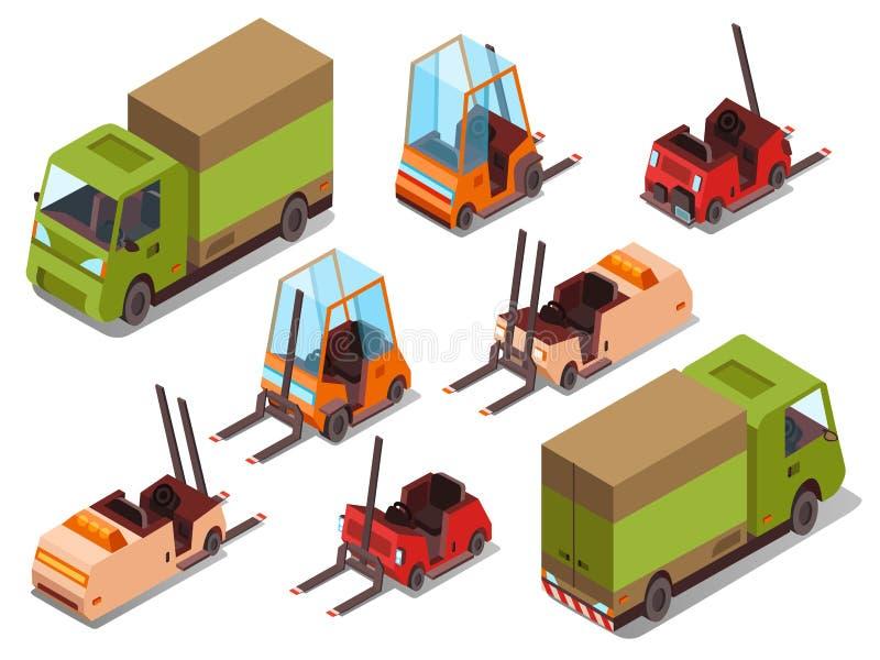 Isometric loader trucks vector illustration stock illustration