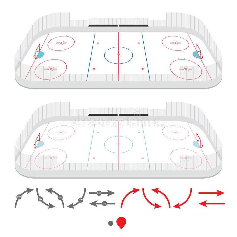 Isometric lodowego hokeja lodowisko royalty ilustracja