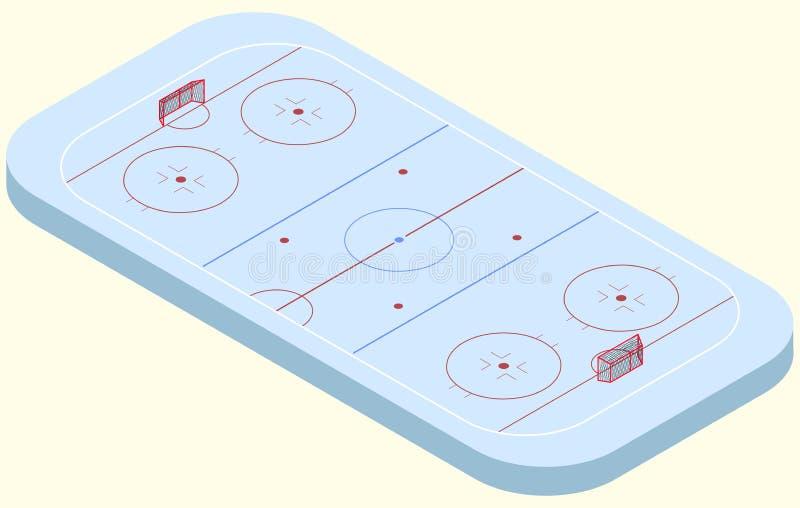 Isometric lodowego hokeja lodowisko w wektorze ilustracja wektor