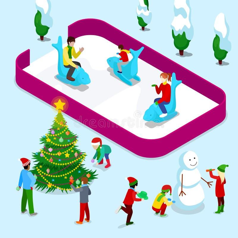 Isometric Lodowy lodowisko z ludźmi i Bożenarodzeniowi dzieci zbliżamy choinki i bałwanu ilustracji