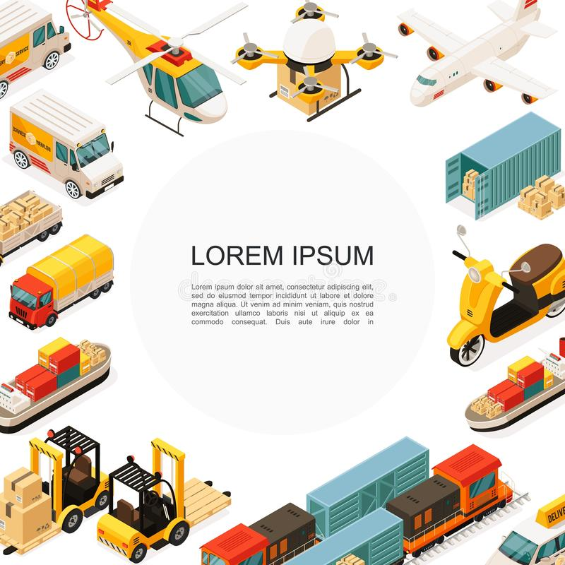 Isometric Logistics And Transportation Template royalty free illustration