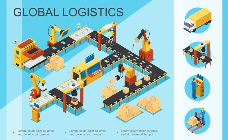 Isometric Logistics And Warehouse Concept stock illustration